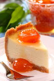 A piece of cheesecake. Royalty Free Stock Images