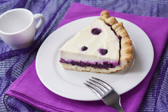 Piece of cheesecake with blueberries Stock Photo