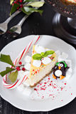 Piece of cheesecake decorated for Christmas Stock Image
