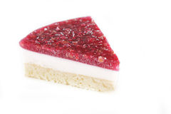 Piece of cheesecake with raspberry Stock Photos