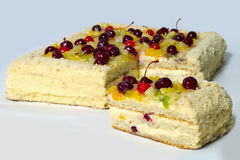 Piece of cherry cake. Royalty Free Stock Photos