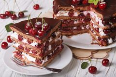 Piece of cherry cake with chocolate horizontal Royalty Free Stock Images