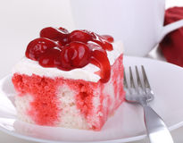 Piece of Cherry Cake Closeup Stock Photography