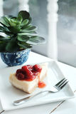 A piece of cherry cheesecake Royalty Free Stock Photography