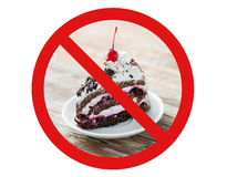 Piece of cherry chocolate cake behind no symbol. Low carb diet, fattening and unhealthy eating concept - piece of delicious cherry chocolate layer cake on saucer Royalty Free Stock Images