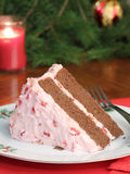 Piece of Cherry Christmas Cake Stock Images