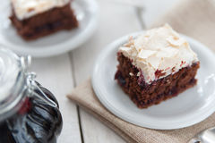 Piece of cherry and meringue cake Royalty Free Stock Images