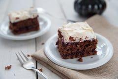 Piece of cherry and meringue cake Stock Photo