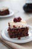 Piece of cherry and meringue cake Stock Photos