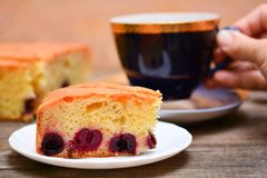 Piece of cherry pie and cup of tea Stock Photos
