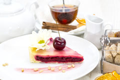 Piece of cherry pie Royalty Free Stock Image