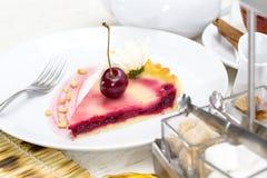 Piece of cherry pie Stock Photos