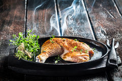 Piece of chicken with fresh marjoram ready to grill Stock Images