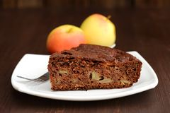 Piece of chocolate apple cake and apples Royalty Free Stock Image
