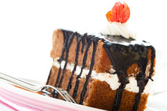 A piece of chocolate cake Royalty Free Stock Photos