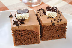 Piece of chocolate cake Stock Images