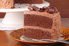 Piece of Chocolate Cake. With chocolate curls on a plate Royalty Free Stock Photo