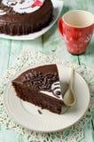 Piece of chocolate cake with banana Royalty Free Stock Photos