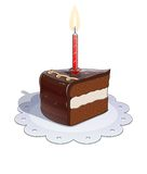 Piece of chocolate cake with candle Stock Images