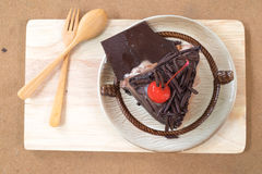 Piece of chocolate cake with cherries Royalty Free Stock Photos