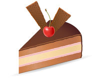 Piece of chocolate cake with cherries vector illus Royalty Free Stock Images
