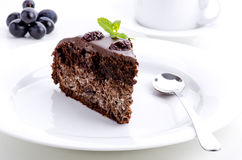 Piece of chocolate cake with cherries Royalty Free Stock Image
