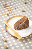 A piece of chocolate cake with chocolate glaze stock photography
