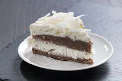 Piece of chocolate cake with coconut cream Stock Images