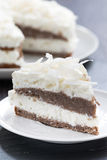 Piece of chocolate cake with coconut cream, close-up Royalty Free Stock Photo