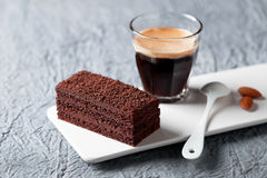 Piece of chocolate cake and coffee Stock Photo