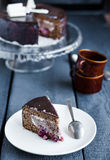 Piece of chocolate cake with cream and cherry on white plate Stock Photography