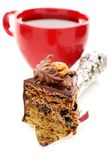 Piece of chocolate cake and a cup of tea. Royalty Free Stock Photos