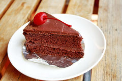 Piece of chocolate cake Stock Photo