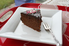 Piece of chocolate cake Royalty Free Stock Images