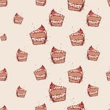 Piece of chocolate cake Hand drawn sketch on pink background.seamless pattern vector Royalty Free Stock Images