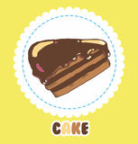 Piece of chocolate cake with icing. Cake Icon Stock Image