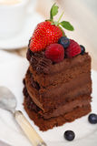 Piece of chocolate cake with icing and fresh berry. On light background Royalty Free Stock Photos