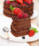 Piece of chocolate cake with icing and fresh berry. On light background Stock Photos