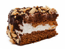Piece of chocolate cake isolated on white Stock Photos