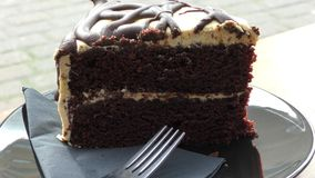 A piece of chocolate cake. stock footage