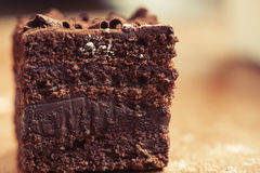 Piece of chocolate cake. Royalty Free Stock Image
