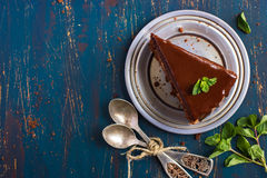Piece of chocolate cake with mint leaves Royalty Free Stock Image