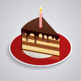 A piece of chocolate cake with one candle on a saucer. Celebrating the birthday of 1 year. The food is sweet. Isometric Royalty Free Stock Images