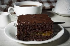 A piece of chocolate cake Stock Photography