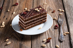 Piece of chocolate cake. On plate Royalty Free Stock Photography