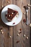 Piece of chocolate cake. On plate Stock Image