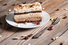 Piece of chocolate cake. On plate Stock Photo