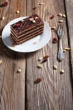 Piece of chocolate cake. On plate Royalty Free Stock Images