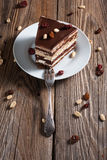 Piece of chocolate cake. On plate Stock Photography