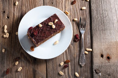 Piece of chocolate cake. On plate Royalty Free Stock Photo